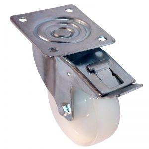 80mm - White Nylon - Swivel Plate Castor - Braked