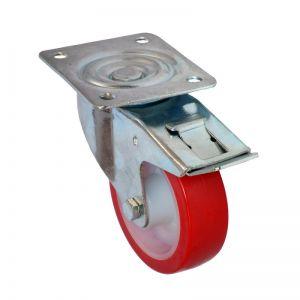100mm - Poly Tyre - Swivel Plate Castor - Braked
