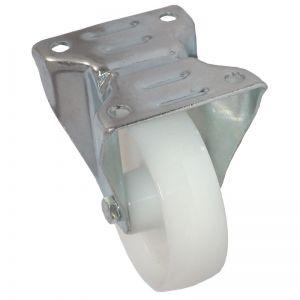 125mm - White Nylon - Fixed Plate Castor