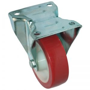 100mm - Poly Tyre - Fixed Plate Castor