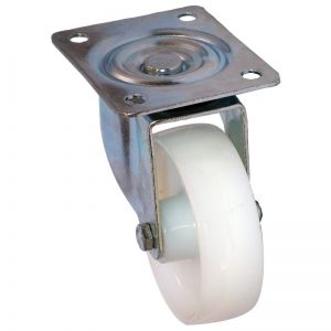 80mm - White Nylon - Swivel Plate Castor